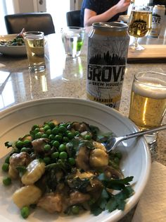 The Grove Brew House Paradise Lager with Mushroom and Sausage Gnocchi Essex County, Fresh Basil Leaves, Complete Recipe, White Cheddar, Frozen Peas, Baby Spinach, Wineries, Gnocchi, Food For Thought