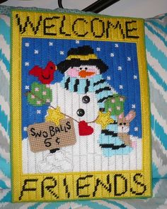 Snowman Welcome Friends Wall Hanging  Homemade by DemsPlace