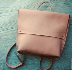 """Купить Кожаный рюкзак """"Сream brulee"""" - бежевый, однотонный, кожаный рюкзак, женский рюкзак"""