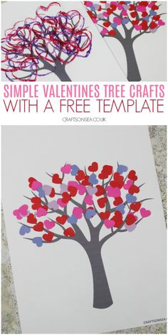 valentines tree crafts kids free template Six easy and fun ideas for making Valentines tree crafts plus you can use our free tree template to make all of them! Cute craft and art projects for Valentines Day. Kinder Valentines, Valentine Tree, Valentines Art, Valentines Day Activities, Valentine's Day Crafts For Kids, Valentine Crafts For Kids, Holiday Crafts, Classroom Crafts, Preschool Crafts