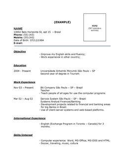 Modelo De Curriculum Simples Modelo De Curriculum Lucas