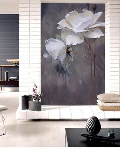 Simple Black and White Color Wallpaper Wall Mural, Lotus Floral Wall Mural, Bedroom/Living Room Wall Murals Wall Decor Grey Floral Wallpaper, Wallpaper Wall, Colorful Wallpaper, Graffiti Wall Art, 3d Wall Murals, Bedroom Murals, Cleaning Walls, Flower Wall Stickers, Black And White Colour