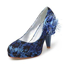 Fabric/ Lace Upper Chunky Heel Pumps With Stitching Lace/ Satin Flower Wedding Bridal Shoes – USD $ 19.99