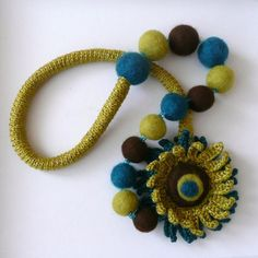 Olive-teal-brown necklace with flower - crocheted and felted