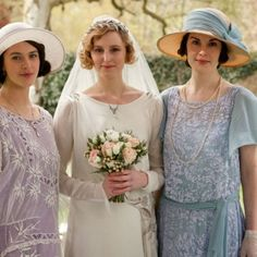 Sybil & Mary dressed in pretty pastels for Edith's (failed) wedding.