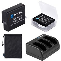 Mesh Storage Bag 2.1A + 2.1A Battery Storage Box +2-Port USB 5V AHDBT-501 3-Channel Battery Charger Wall Charger Kits for GoPro HERO5 Durable 10 in 1 AHDBT-501 3.85V 1220mAh Battery