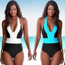 2016 Sexy de Uma Peça Maiô Bandagem Para As Mulheres Sólido Branco e Azul de Um ombro Cut Out Monokini Swimwear Maiô bodysuit alishoppbrasil