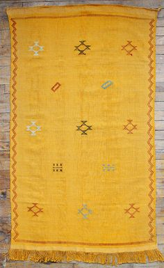 Agave silk kilim area carpet in yellow, from Baba Souk
