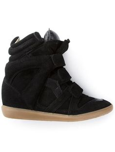 'Black suede 'Beckett' hi-top sneakers from Isabel Marant featuring a round toe, a velcro fastening and a concealed wedge heel.'