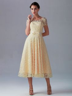 Lace Dress with Short Sleeves; Color: Creamy White; Sizes Available: 2-26W; Fabric: Lace, Satin