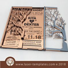 Best Indoor Garden Ideas for 2020 The number of internet users who are looking for… Trotec Laser, Laser Art, Laser Cut Wood, Laser Cutting, Wood Invitation, Laser Cut Invitation, Invitation Cards, Wood Wedding Invitations, Wedding Wall