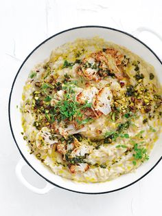 cauliflower cheat's risotto with mint and pistachio oil