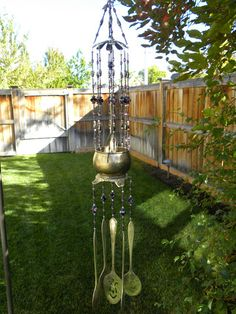 Wind chime made rustic silver flatware and creamer - purple black whit - Whispering Metalworks