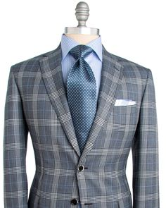 Brioni | Grey Plaid with Light Blue Windowpane Sportcoat | Apparel | Men's