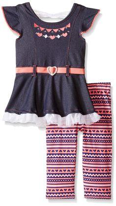Little Lass Little Girls' Toddler 2 Piece Capri Set Denim Heart, Denim, 2T. 2 piece set. Cotton-polyester-spandex.