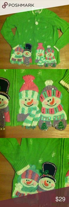 Ugly Christmas Sweater 3D embellished snowman cute Bright green, cute embellished beaded snowman, zip-up cardigan, 55% ramie 45% cotton,pre-owned, Tiara International Christmas Collection,sz m Tiara International Sweaters Cardigans