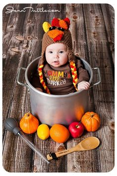 Baby dressed as turkey. Cute baby photoshoot ideas for calendars and thanksgiving invitations!