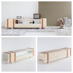 Inspired by an old ammunition chest #DanielleCristiano turns a supply from war into a piece of #furniture that is aesthetically pleasing and functional. #Calibro is made of oil finished solid spruce #wood & lacquered MDF containers that all fit securely together with #leather belts. You can use this as a media center, console table, or a coffee table! #design #sideboard #beauty #madefor #formabilio #nyc #lifestylespacedesign