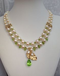 Peridot & Freshwater Pearls Necklace