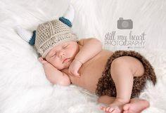 Boy or Girl Baby Viking Hat 06 mo by SchlisKnits on Etsy, $19.99