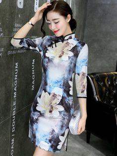 Floral Print Qipao / Cheongsam Dress with Half Sleeve