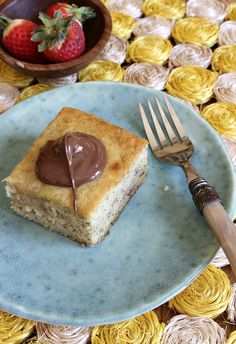 banana snack cake with nutella frosting