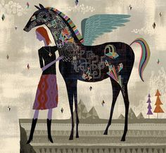 Girl and Pegasus Horse Pillow/Pillow Cover Arte Fashion, Horse Illustration, Horse Sculpture, Arte Popular, Equine Art, Grafik Design, Horse Art, Whimsical Art, Oeuvre D'art
