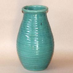 Large Vintage Zanesville Art Pottery Turquoise Green Ribbed Rib Ware Vase