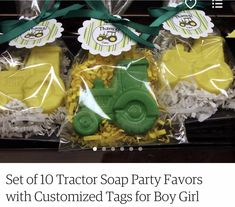 Set of 10 Tractor Soap Party Favors with Customized Tags for Boy Girl Tractor Party Birthday Baby Shower Use coordinating theme object John Deere Party, Farm Animal Birthday, Tractor Birthday, Spices Packaging, 2nd Birthday Parties, Birthday Ideas, Custom Tags, Party Themes, Party Ideas