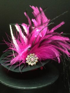 Pink Zebra Mad Hatter Mini Top Hat Great for by daisyleedesign