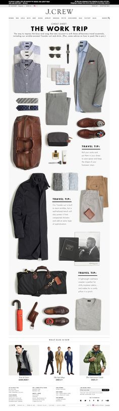 J Crew Mens Cheat sheet for work trip laydowns