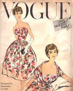 Lovely Strapless Evening Dress and Bolero Pattern Vogue Couturier Design 101 Simonetta of Italy Design Cocktail Party Dress Bust 32 Vintage Sewing Pattern + Label Vestidos Vintage, Vintage Dresses, Vintage Outfits, Vintage Fashion, Vintage Clothing, Vintage Style, 1950s Dresses, 1950s Fashion, Vintage Vogue Patterns