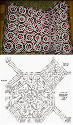 Crochet blanket motif chart pattern
