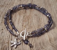 Double iolite bracelet with sterling silver by kudzupatch on Etsy, $50.00
