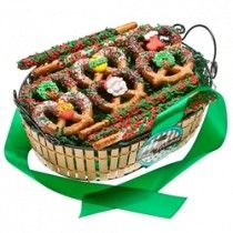 Christmas Pretzel Gift Basket filled with holiday decorated chocolate covered pretzels!  $34.99 www.instylepartyfavors.com