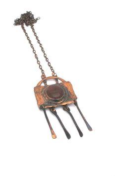 Rafael Canada copper & dark amber fringe necklace Fringe Necklace, Handcrafted Jewelry, Jewelry Crafts, Amber, Steampunk, Vintage Jewelry, Copper, Canada, Pendants