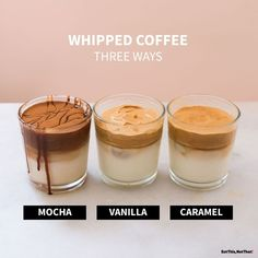 Craving a frothy coffee drink? Whipped coffee will satisfy that craving, which you can easily make with three different flavors! Starbucks Recipes, Starbucks Drinks, Coffee Recipes, Coffee Latte, Drink Coffee, Espresso Coffee, Coffee Cups, Coffee Maker, Smoothie Popsicles