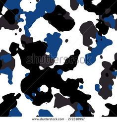 Seamless fashion blue white gray and black camouflage pattern