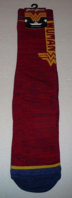 Wonder Woman Men's Crew Socks DC Comics Vertical Text Size 10-13 Red Blue Movie #Bioworld #CrewSocks