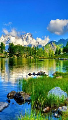 Beautiful lake in the mountains: