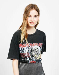 T-shirt imprimé 'Iron Maiden' - Manche Courte - Bershka France