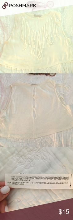 Boho chic Zara Collection top sz S Adorable top.  Material feels like linen.  Can go with so much.  Worn 1x.  Bundle and save! Zara Tops Tank Tops