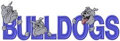 MA Designs Embroidery Design: Bulldogs Mascot Applique 3.43 inches H x 10.34 inches W