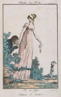 """Mr. Wickham from Suzan Lauder's """"Letter from Ramsgate"""" attempts to woo Miss Georgiana Darcy, while Miss Elizabeth Bennet wanders around in the distance, spinning her parasol. (Artwork: Debucourt, Modes et Manières du Jour no. 34)"""