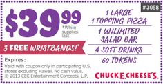 Save BIG on pizza, wings and more with our Chuck E. Enter your favorite location for print friendly 2017 Chuck E. Pizza Coupons, Store Coupons, Online Coupons, Pizza Restaurant, Favourite Pizza, Pizza Hut, Salad Bar, Printable Coupons, Alice