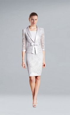 Modest Jacket Knee-length Lace Satin Mother of the Bride Dress