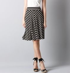 Stripe Tie Waist Knit Circle Skirt    $54.50