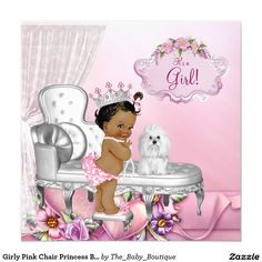 Girly Pink Chair Princess Baby Shower 5.25x5.25 Square Paper Invitation Card
