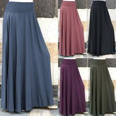 jupe femme Women Fashion Elastic Waist Solid Color Pleated Skirt Vintage A-line Loose Long Skirts trendyol saias spodnica Long Skirts For Women, Long Maxi Skirts, Women's Skirts, Casual Skirts, Long Dresses, Robe Swing, Swing Dress, Sewing Dresses For Women, Clothes For Women