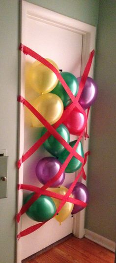 Birthday morning surprise, when they open the door all the balloons fall on them! x